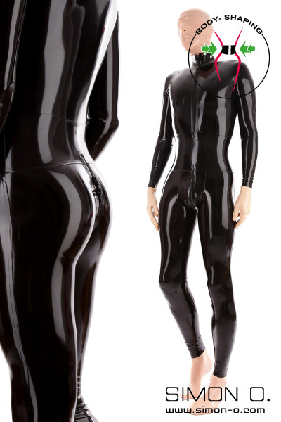 Shiny skin tight latex catsuit with corset belt in black