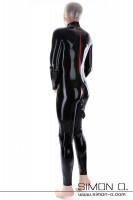 Vorschau: Latex Bondage Catsuit in Schwarz mit roten Zipps von hinten gesehen