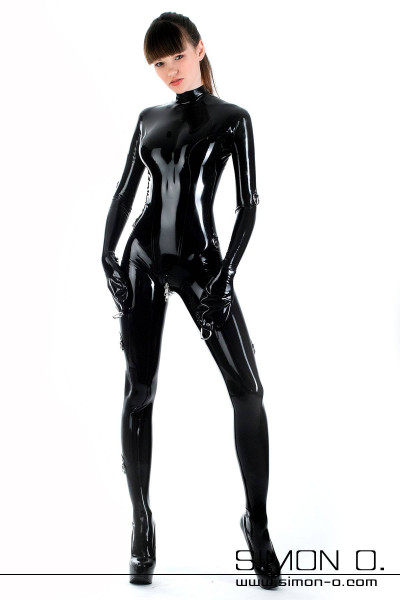 Shiny lockable Latex Bondage Catsuit in Black with D rings worked on mittens from the front