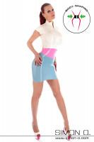 Vorschau: Latex Minikleid mit kurzen Ärmeln und Zipp vorne in den Farben Weiß, Pink und Hellblau