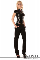 Preview: Short sleeve latex shirt with zipper combined with a jeans in black