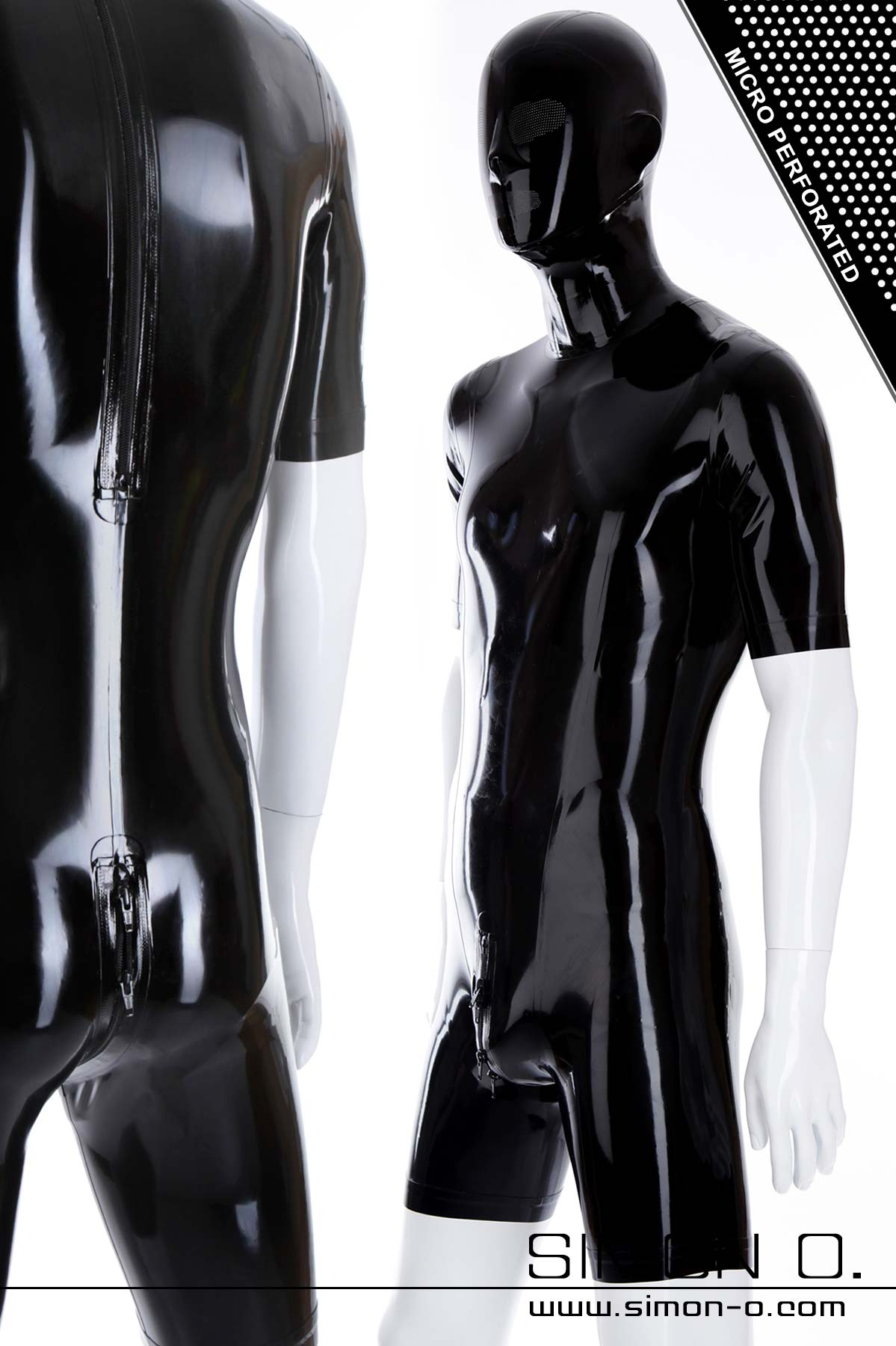 Skin tight shiny black latex body with attached latex hood