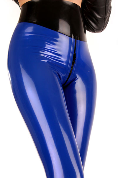 Enge glänzende Latex Leggings in Blau mit Zipp im Schritt