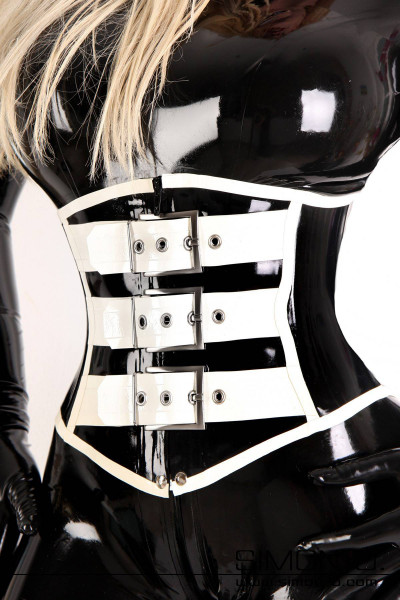 Latex bodice with 3 big buckles Latex bodice made of thick latex (2 mm) with front zipper, 3 big buckles on the front and corset lacing at the back. Made of …