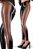 Vorschau: Hautenge Latex Leggings mit farblich abgesetzten Einsatz Sexy Latex Leggings mit farblich abgesetzten Einsatz welcher von hinten beginnend seitlich nach vorne …