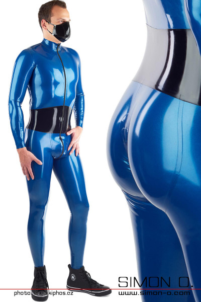 A man wears a blue latex suit with integrated bodice and push up buttocks